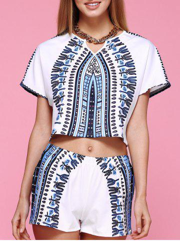 Affordable Chic Short Sleeve Printed Crop Top + Elastic Waist Shorts Women's Twinset WHITE XL
