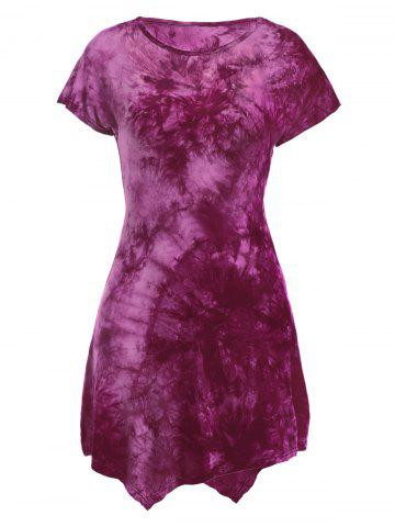 Chic Short Sleeve Round Neck Tie-Dyed Asymmetric Dress ROSE RED S