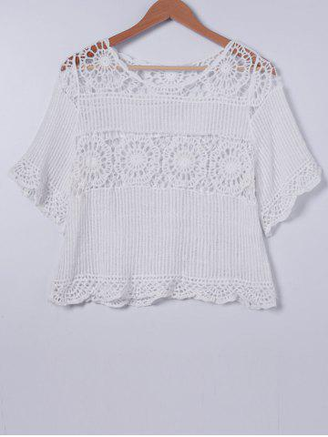 Discount Sweet Crochet Scoop Neck Short Sleeves Blouse For Women