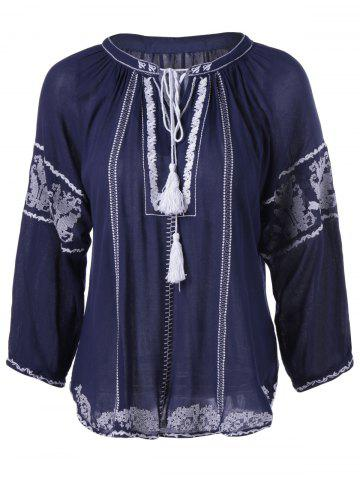 Fancy Ethnic Style Embroidered Tie Nine-Minute Sleeves Blouse For Women