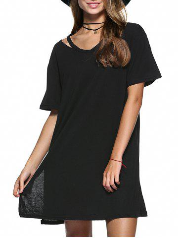 Fashion Cut Out Slit Pure Color Boyfriend Tee