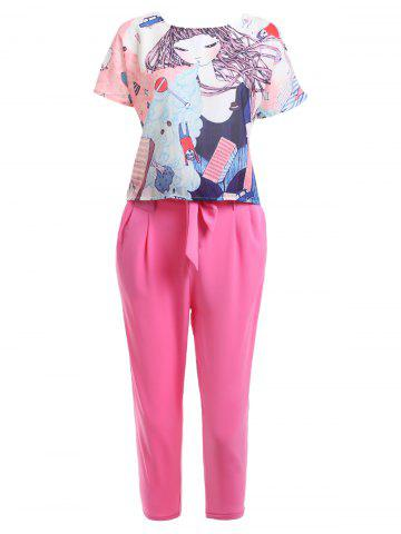 Cheap Cute Cartoon Print T-Shirt + Pocket Design Solid Color Pants Women's Twinset