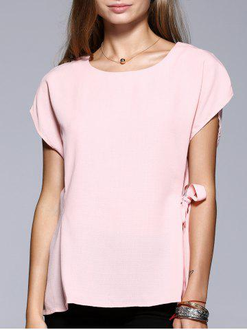 Chic Romantic Date Side Bowknot Embellished Waisted Blouse PINK XL