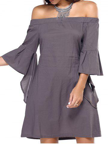 Fashion Off The Shoulder Flare Sleeve Dress