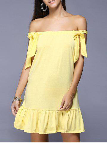 Discount Off The Shoulder Bowknot Ruffled Dress