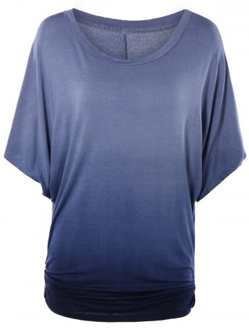 Chic Scoop Neck Dolman Sleeve Ombre T-Shirt