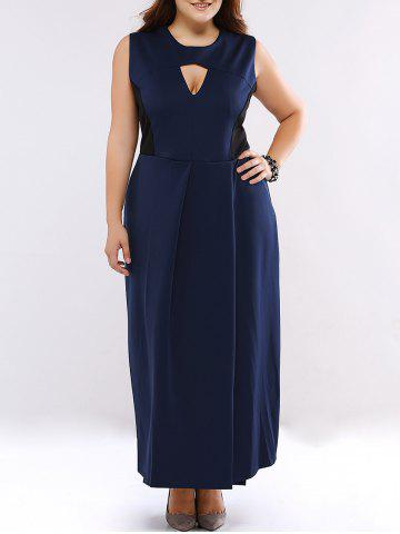 Outfits Plus Size Cut Out High Waist Cocktail Dress DEEP BLUE 5XL