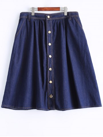 Outfits Plus Size Casual Single Breasted Denim Skirt