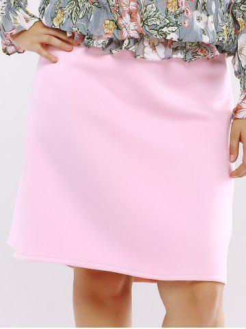 Chic Plus Size Zip Up Knee Length Skirt