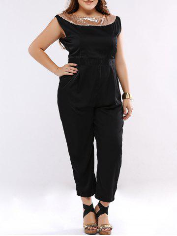 Cheap Sequined Sleeveless Open Back Plus Size Jumpsuit