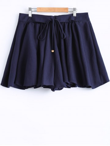 Online Plus Size Stylish Tie Front Pleated Culotte