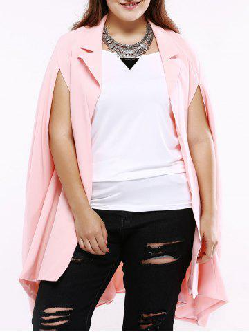 Best Plus Size Sweet Slit Sleeve Long Blazer SHALLOW PINK 5XL