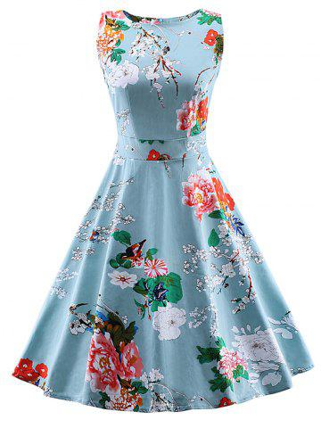 Fashion Vintage Tie Back Floral Print Swing Tea Dress - L LIGHT BLUE Mobile