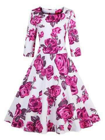 Outfits Vintage 3/4 Sleeve Floral Dress PINK S