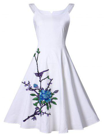 New Vintage Flower Embroidery Swing Dress