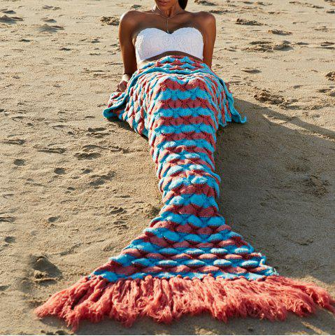 High Quality Wool Knitting Fish Scale and Tassel Design Mermaid Shape Blanket - Jacinth - One Size