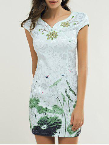 Outfits Slant Button Lotus Leaf Embroidery Cheongsam