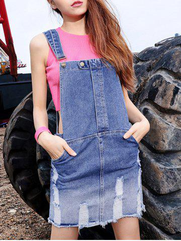 Online Gradient Pockt Design Ripped Denim Dress