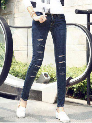 Trendy Dark Color Hole Design Jeans
