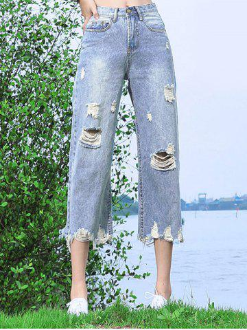 New Loose-Fitting Destroyed Light Color Wide Leg Jeans