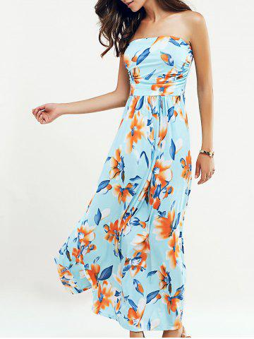 Buy Beach Maxi Floral Bandeau Strapless Summer Dress LIGHT BLUE XL