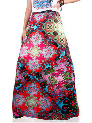 Affordable Ethnic Style Geometrical Print Skirt COLORMIX XL