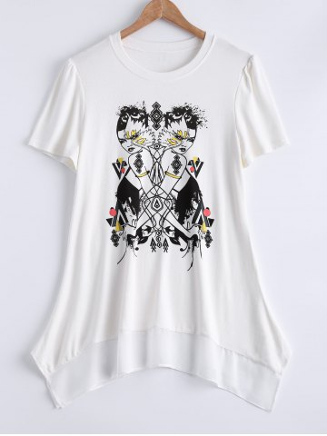 Fashion Plus Size Trendy Figure Print Asymmetrical Blouse