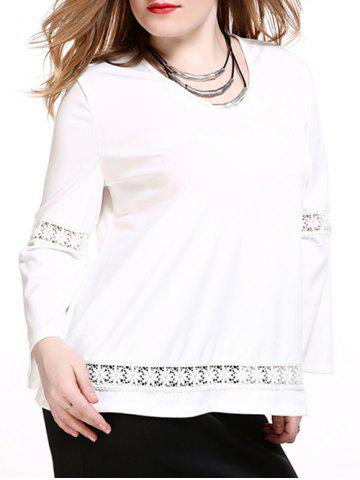 Outfit Plus Size Brief Lace Splicing White Blouse