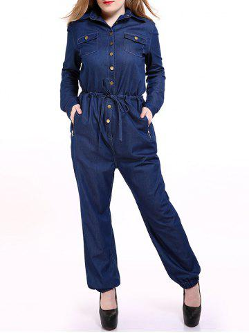 Sale Plus Size Casual Mechanic Single Breasted Denim Jumpsuit