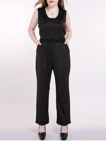 Store Plus Size Sleeveless Lace Splicing Back Jumpsuit BLACK 5XL