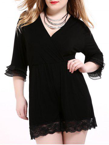 Best Oversized Alluring Layered Sleeve Lace Splicing Romper BLACK 6XL
