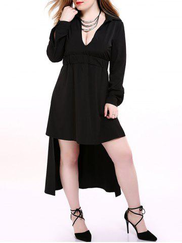 Buy Plus Size Low Cut High Low Hem Dress - 2XL BLACK Mobile