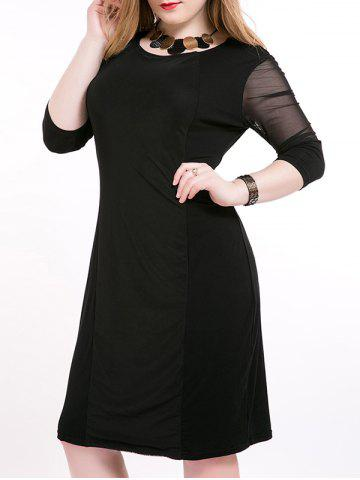 Discount Plus Size Midi Mesh Trim Slimming Dress BLACK 6XL