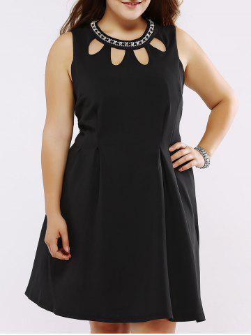 New Plus Size Rhinestoned Cut Out Skater Dress - 3XL BLACK Mobile