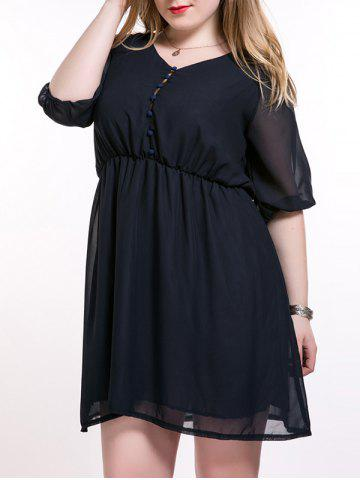 Cheap Plus Size Brief Elastic Waist Buttoned Dress