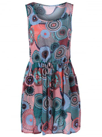 Buy Chic Tie Waist Scoop Neck Print Dress For Women