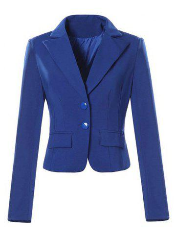 Single Breasted Lapel Neck Short Blazer - Sapphire Blue - M