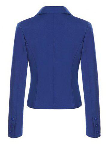 Chic Single Breasted Lapel Neck Short Blazer - M SAPPHIRE BLUE Mobile