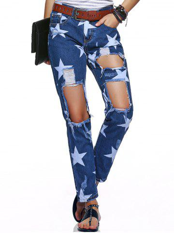 Sale Star Hole Ripped Distressed Jeans