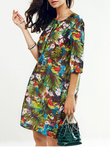 Chic Round Neck 3/4 Sleeve Tropical Print Women's Dress