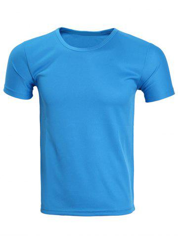 Outfits Solid Color Short Sleeve T-Shirt For Men BLUE XL