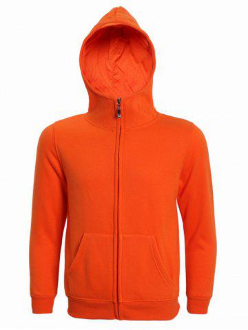 Affordable Hooded Solid Color Zip-Up Long Sleeve Hoodie For Men