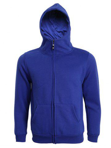 Hooded Solid Color Zip-Up Long Sleeve Hoodie For Men - Deep Blue - Xl