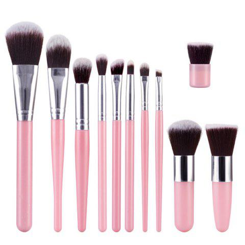 Buy Stylish 11 Pcs Soft Nylon Face Eye Lip Makeup Brushes Set PINK
