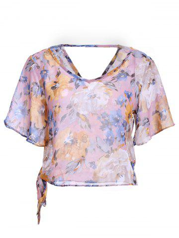 Shop Stylish Print Tie Backless Short Sleeves Chiffon Blouse For Women