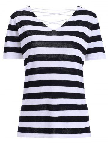 Affordable Casual V-Neck Striped Lace-Up Backless Short Sleeves T-Shirt For Women