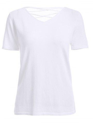 Store Casual V-Neck Solid Color Lace-Up Backless Short Sleeves T-Shirt For Women
