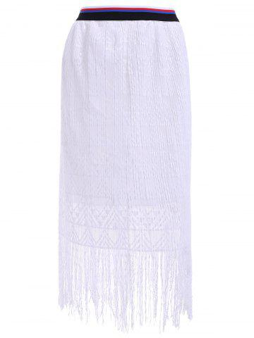 Discount Stylish Solid Color Lace Fringe Ruffle Elastic Waist Midi Skirt For Women