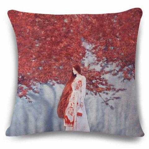 Store Fantastic 3D Long Hair Lady Painting Red Tree Pattern Art Pillow Case