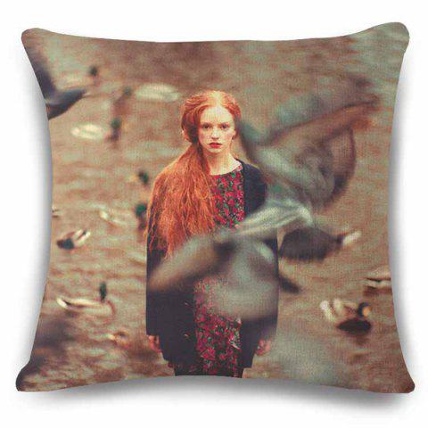 Buy Retro Style Obscure Goose and Lady Photography Pattern Flax Pillow Case